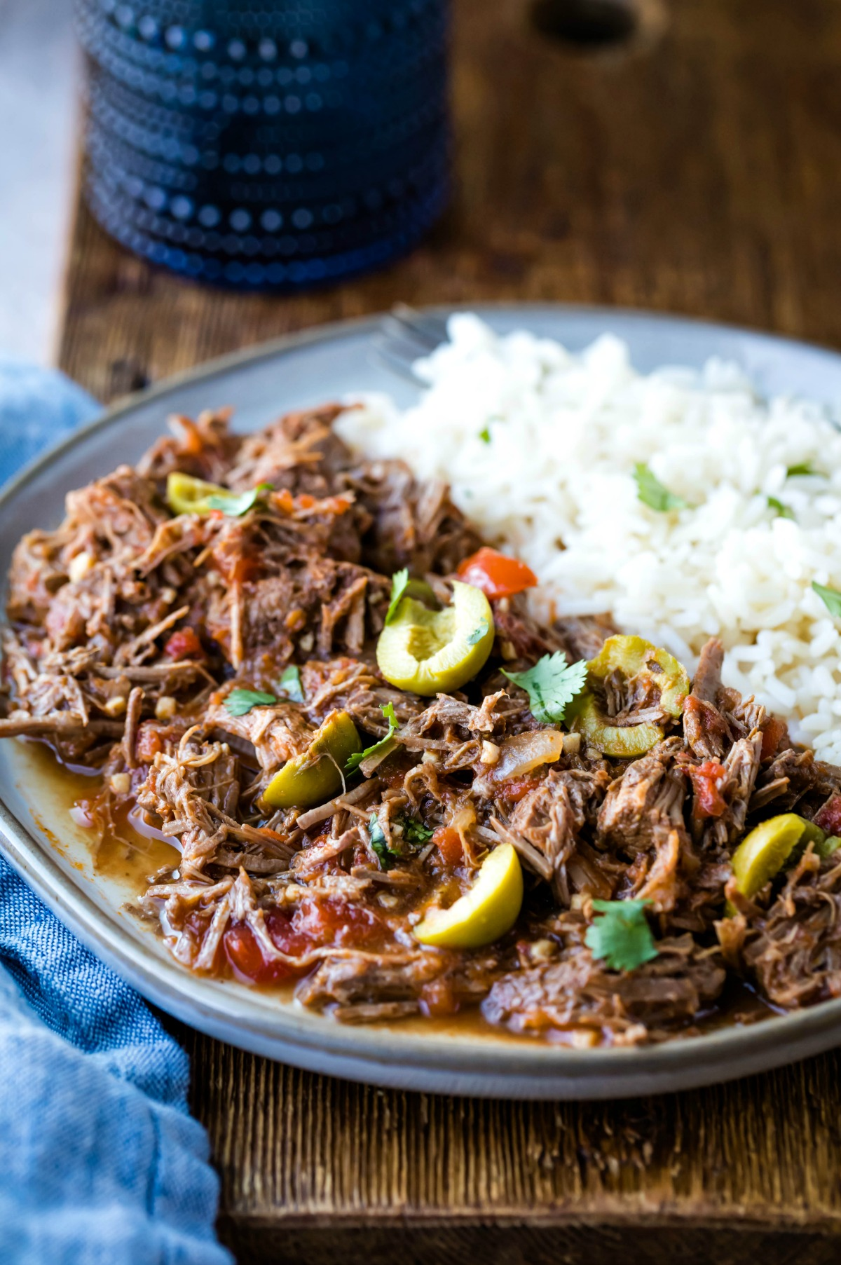 Blue plate with ropa vieja and white rice