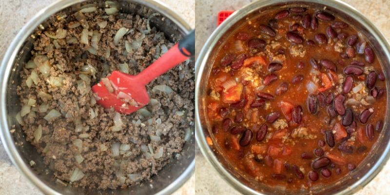 Uncooked chili in an instant pot inner pot