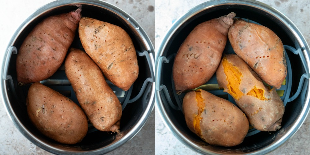 Cooked and uncooked sweet potatoes in an instant pot inner pot
