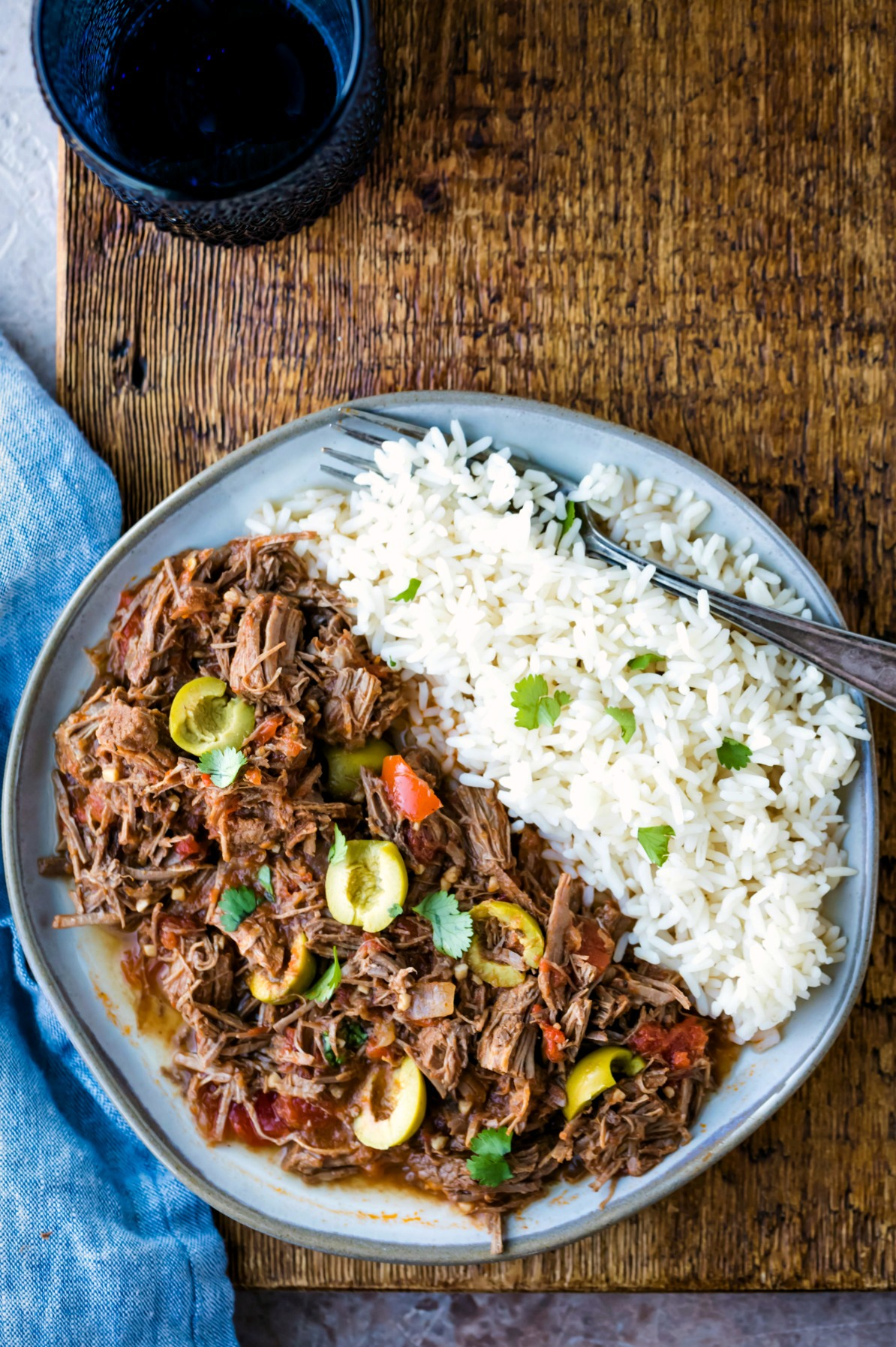 Instant pot ropa vieja topped with fresh cilantro