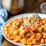 Instant Pot Italian Mac and Cheese on a stoneware plate
