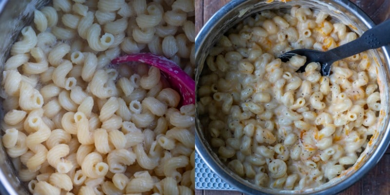 Macaroni and cheese in a silver inner pot
