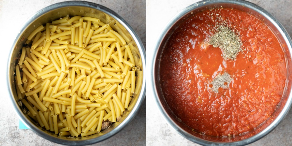 Uncooked ziti noodles in an instant pot inner pot