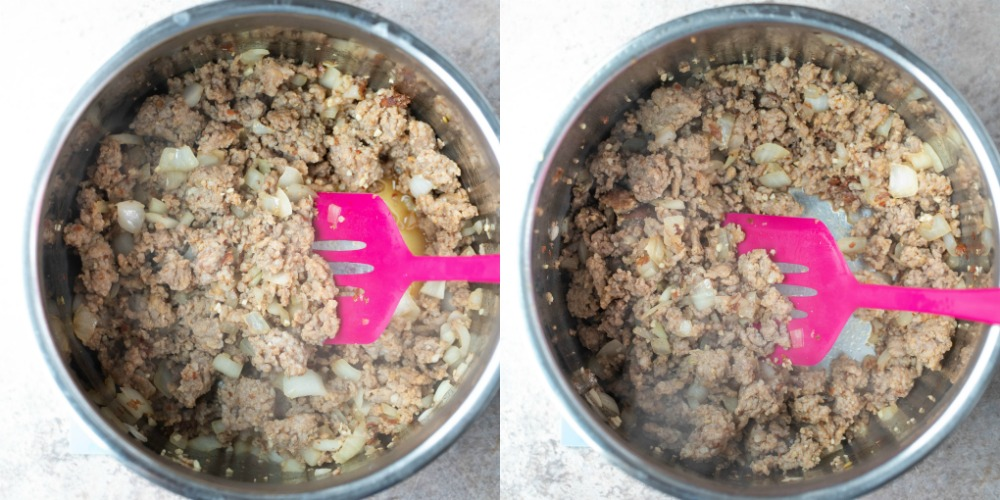 Italian sausage in a silver instant pot inner pot