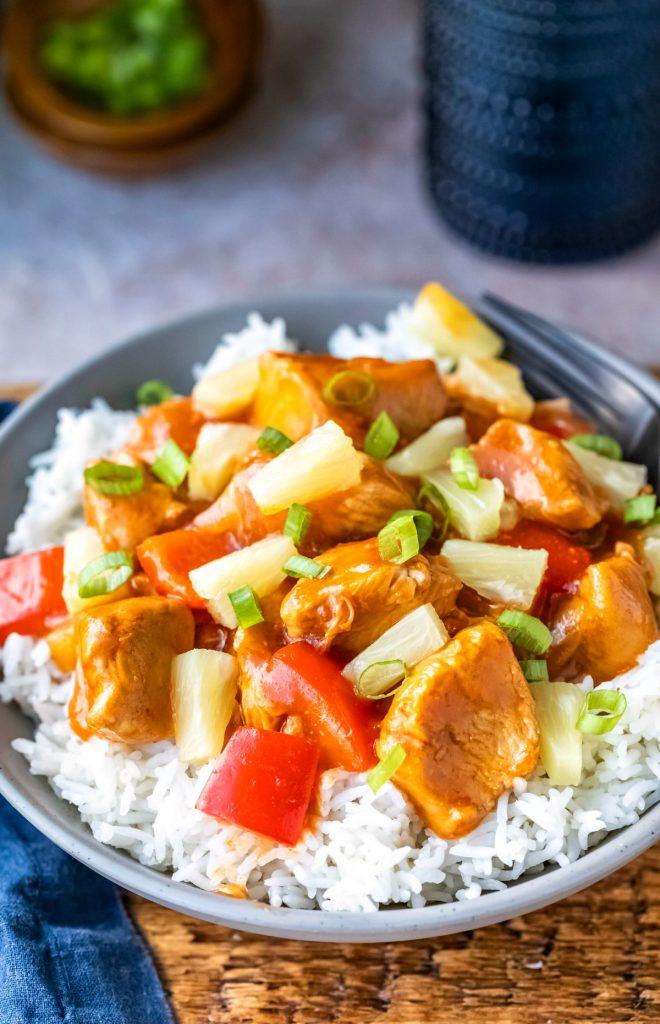 Dish of instant pot Hawaiian chicken on rice