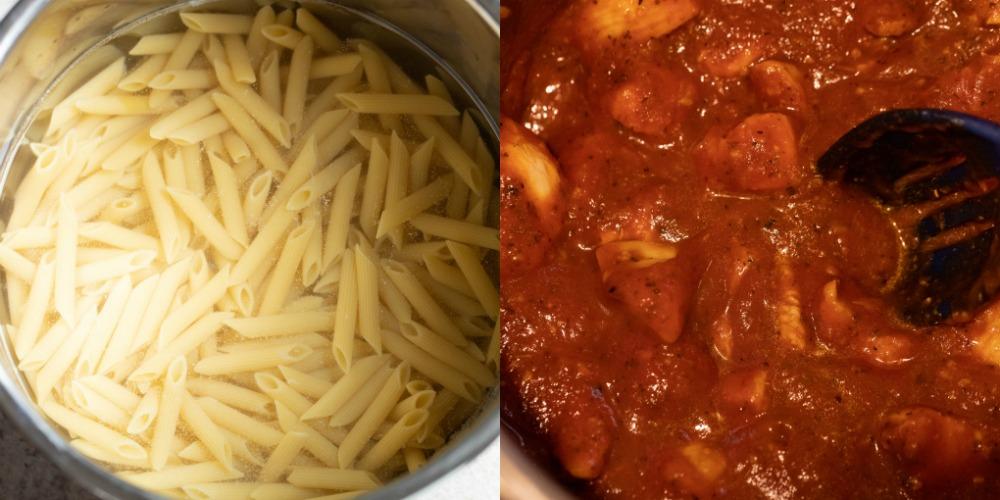 Chicken in pasta sauce in an instant pot inner pot