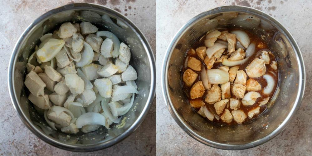 Uncooked chicken in sauce in an instant pot inner pot