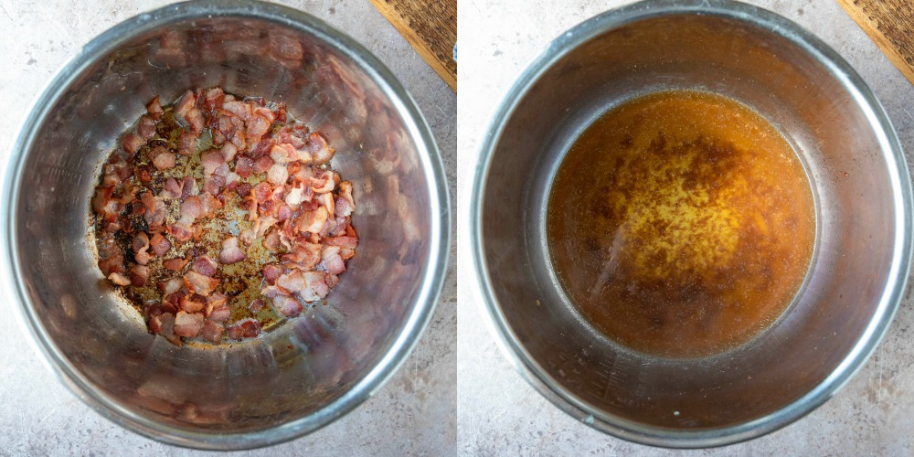 Cooked chopped bacon in an instant pot inner pot