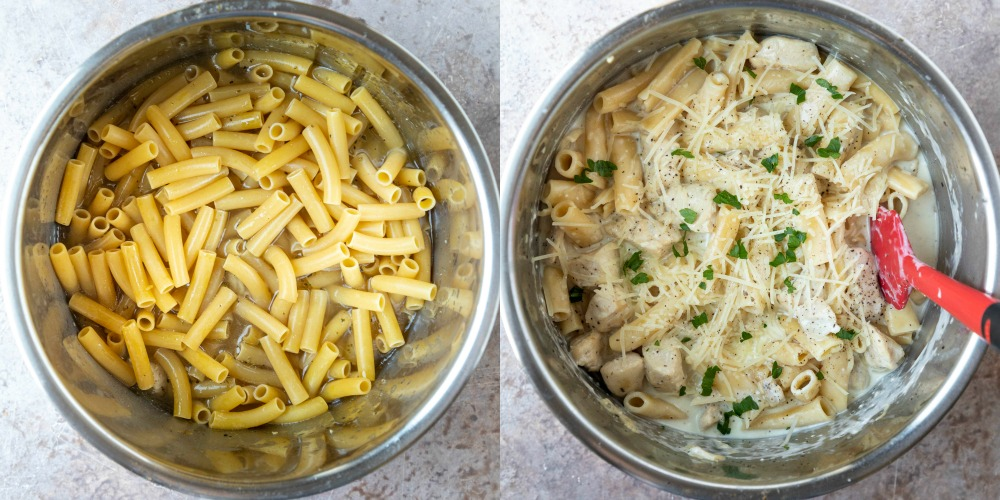 Uncooked pasta in an instant pot inner pot