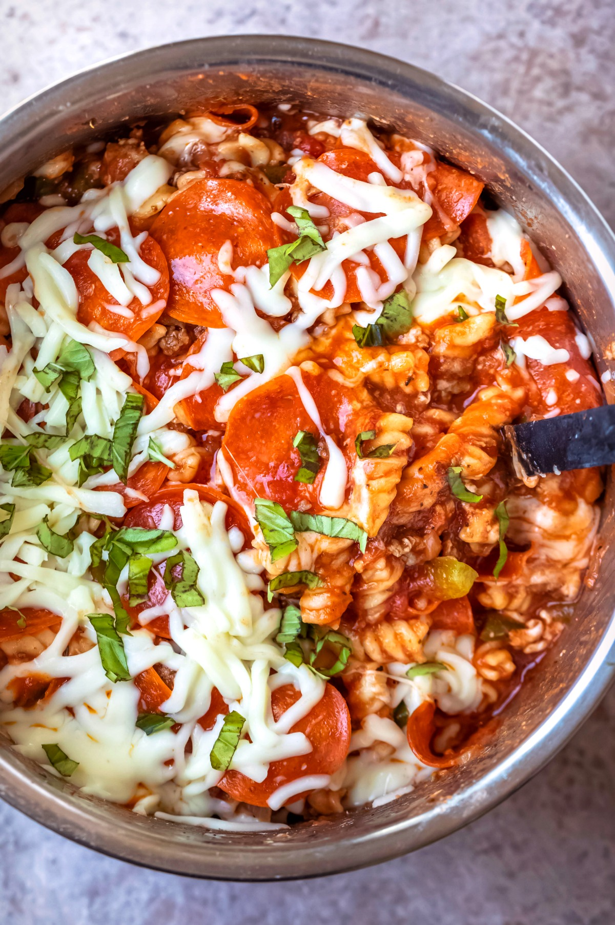 Pizza pasta in an instant pot inner pot