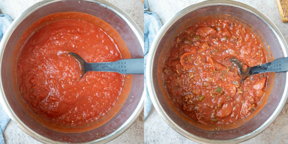 Pizza pasta sauce in an instant pot inner pot