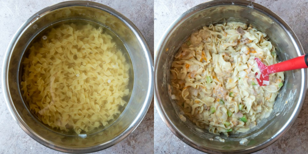 Uncooked egg noodles in water in an instant pot inner pot