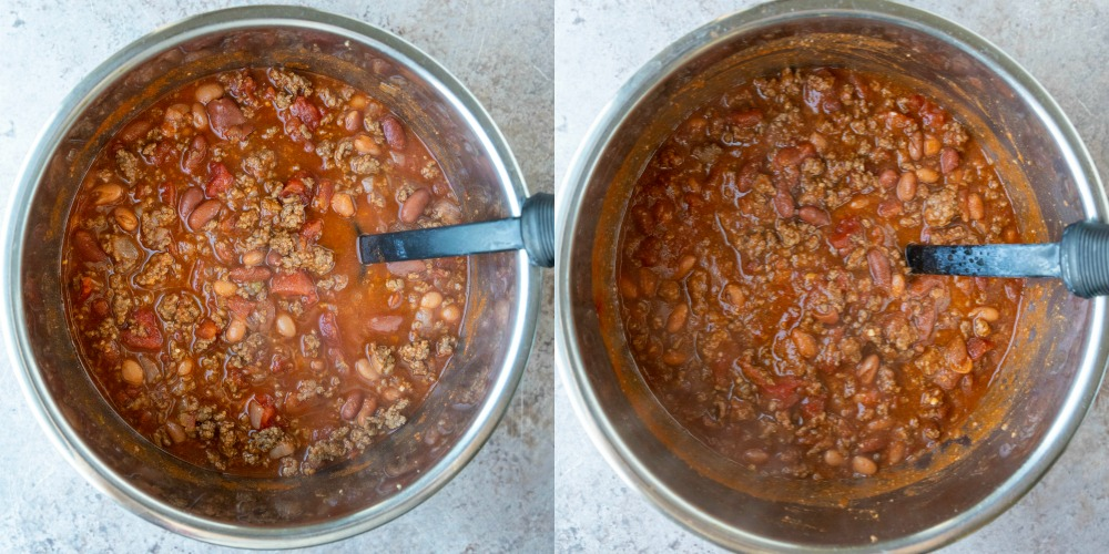 Frito chili in an instant pot inner pot.
