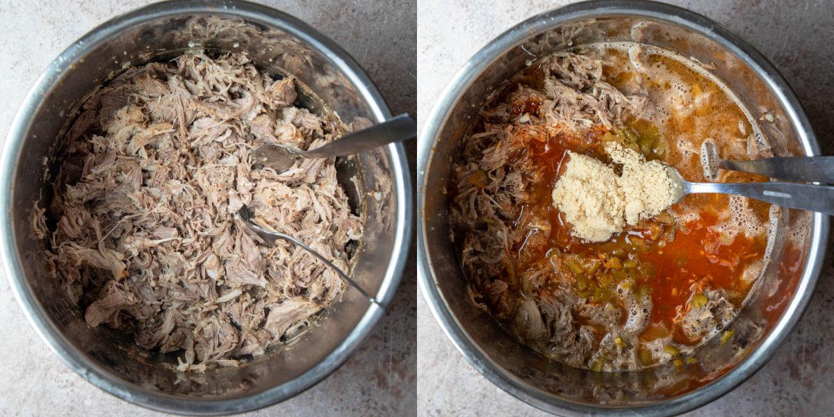 shredded pork in an instant pot inner pot
