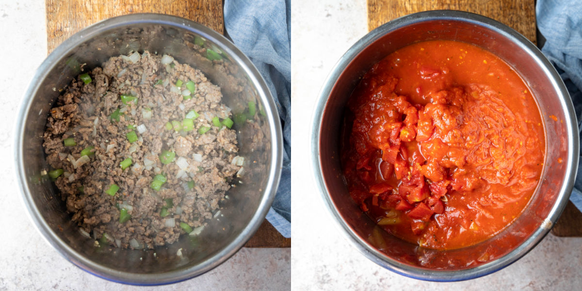 ground beef and sausage and veggie in an instant pot inner pot