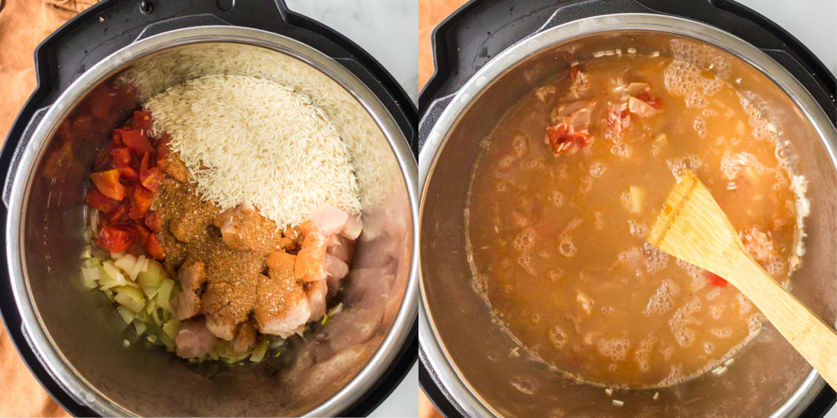 chicken rice and veggies in an instant pot inner pot