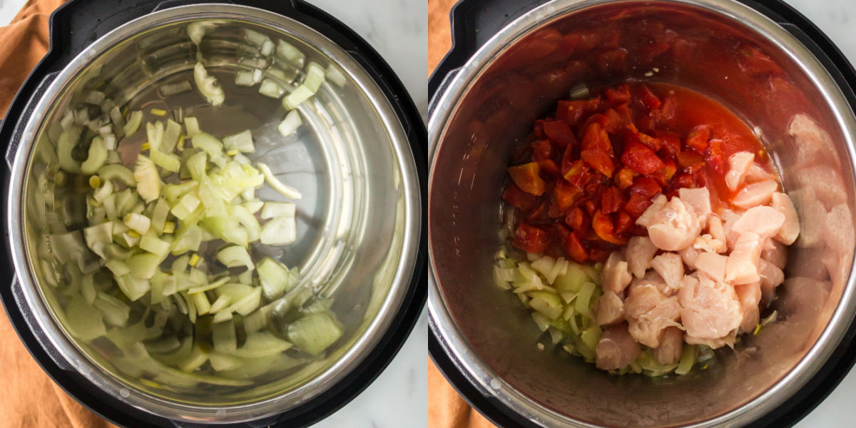 Diced onion in an instant pot inner pot