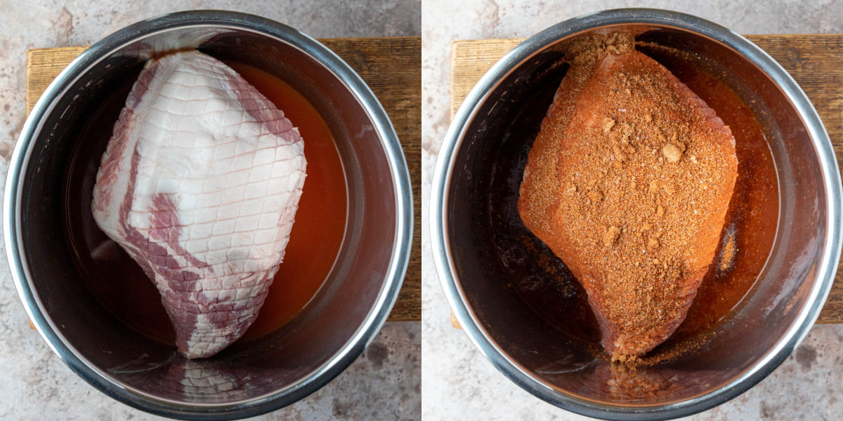 spice rubbed pork in an instant pot inner pot