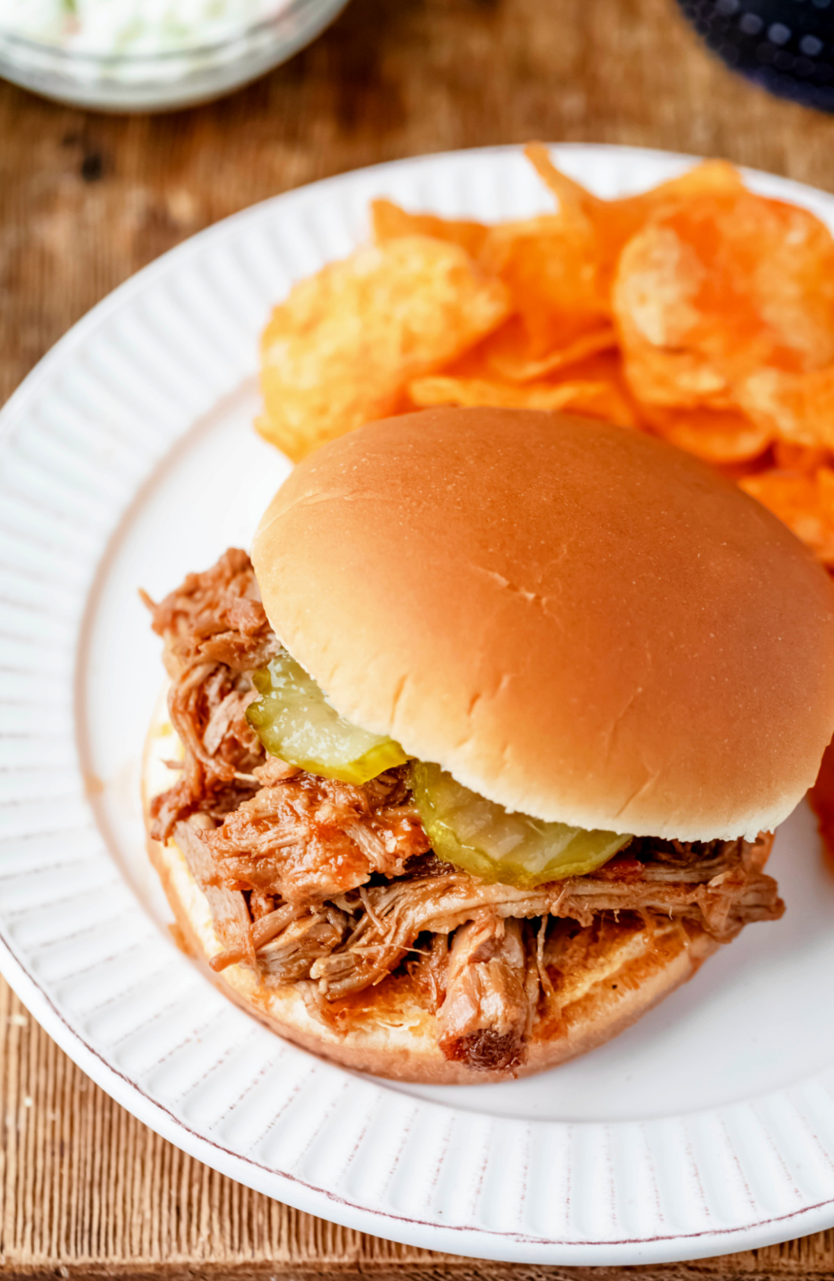 North Carolina style pulled pork on a bun