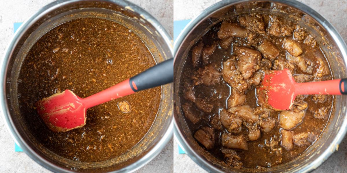 Peanut noodle sauce in an instant pot inner pot
