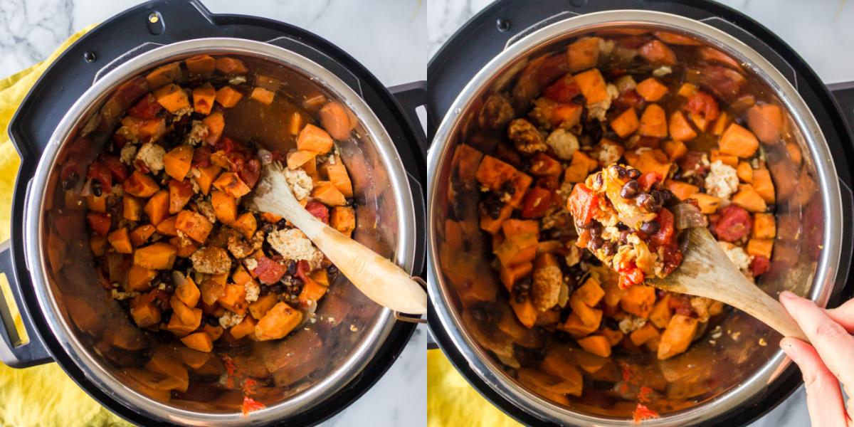 Spoon lifting up turkey black bean sweet potato chili