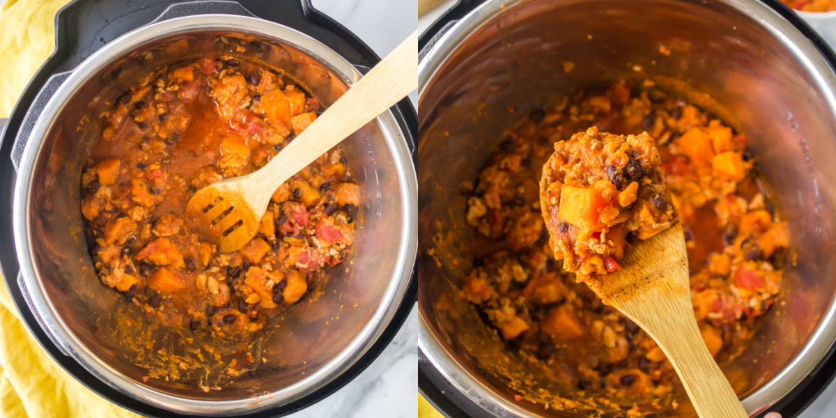 Spoon lifting up cooked turkey black bean chili