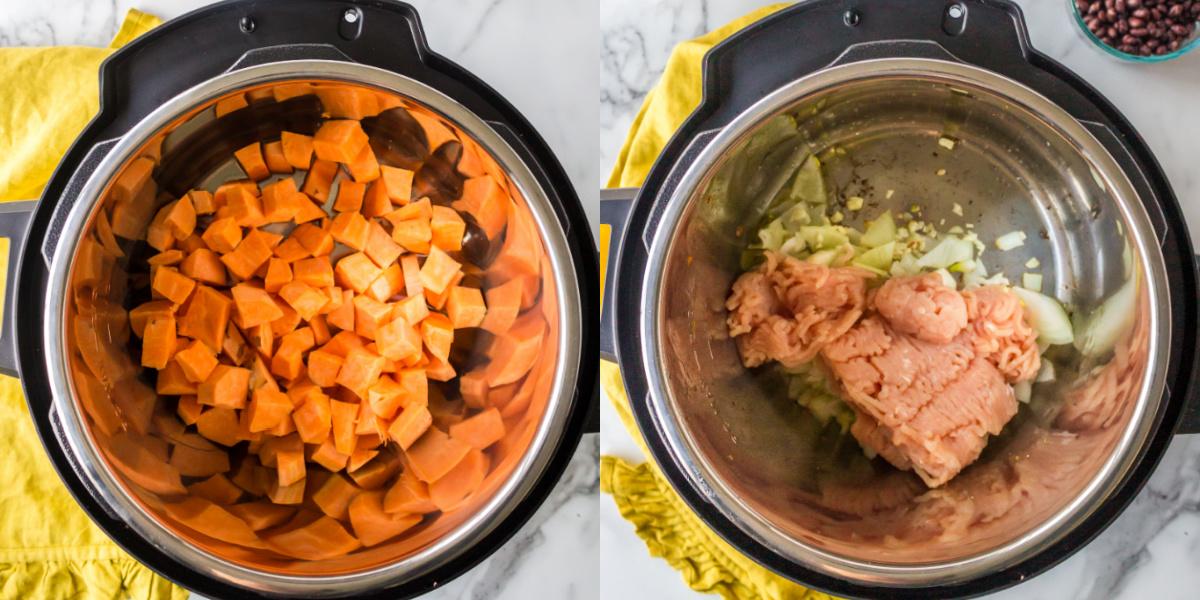 Diced sweet potatoes in an instant pot inner pot