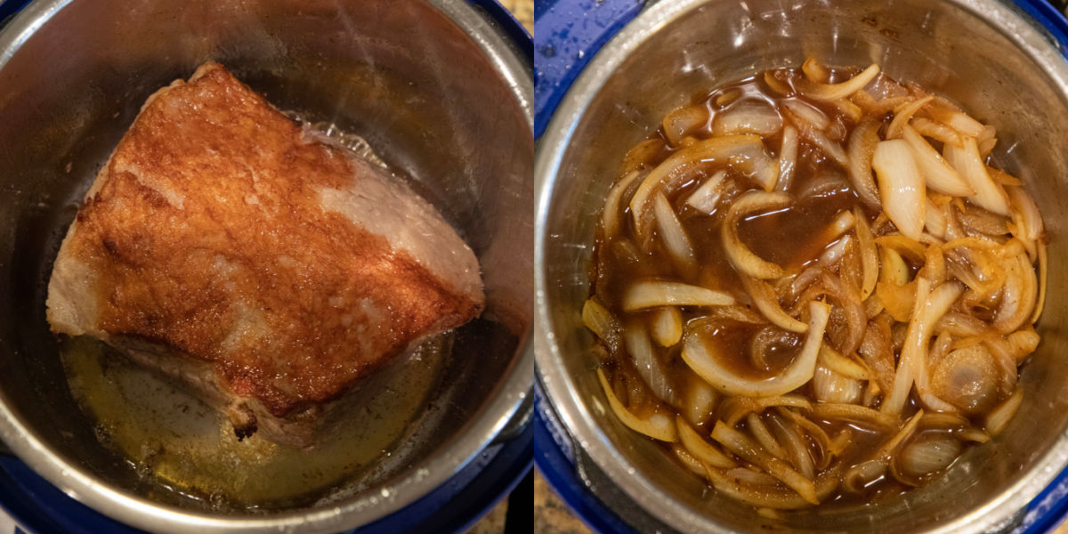 Seared brisket in an instant pot inner pot.